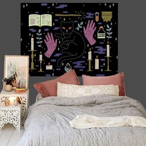 Image 2 - Loartee เวทมนตร์ Ouija Cat Tapestry Psychic Magic โหราศาสตร์การ์ตูน Bohemian Hippie Divination บ้านแขวนผนังผ้าห่ม
