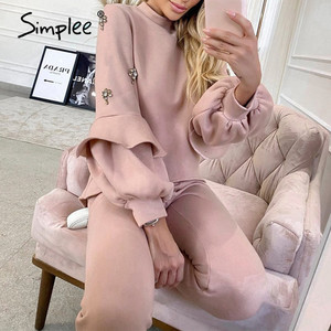 Simplee Casual solid lantern sleeves suit set O-neck faux jewels cuffs falbala women set Home soft autumn winter two piece set