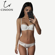 CINOON Sexy Lingerie Lace Bra Set Push Up Underwear Bow Sets Fashion Women Intimates 1/2 Thin Cup And Panties