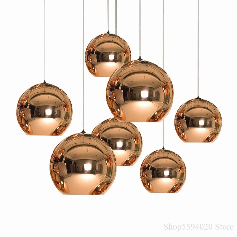 LED Glass Ball  Pendant Lights Kitchen Dining Bar Pendant Lamp Modern Christmas Glass Ball Hanglamp Lighting Luminaire E27 Bulb
