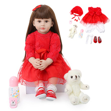 60CM Reborn Baby Doll Girl Lifelike Silicone Dolls Baby Princess Red Dress Newborn Toddler Toys For Kids Playmate Birthday Gift npk 55cm girl baby newborn doll set silicone lifelike reborn dolls for kids playmate gift an88