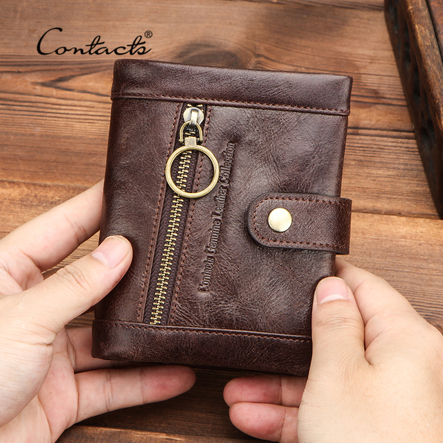 CONTACTS 100% Genuine Leather Wallet Men Bifold Wallets RFID Blocking Coin Purse Zipper Walet Card Holder Small Pocket Carteira