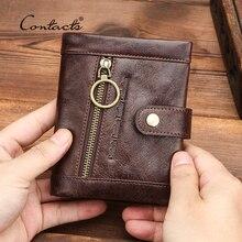 CONTACTS 100% حقيقية محفظة جلدية رجالي محفظة النقود بيفولد تتفاعل حجب محفظة نسائية للعملات المعدنية سستة Walet حامل بطاقة جيب صغير Carteira