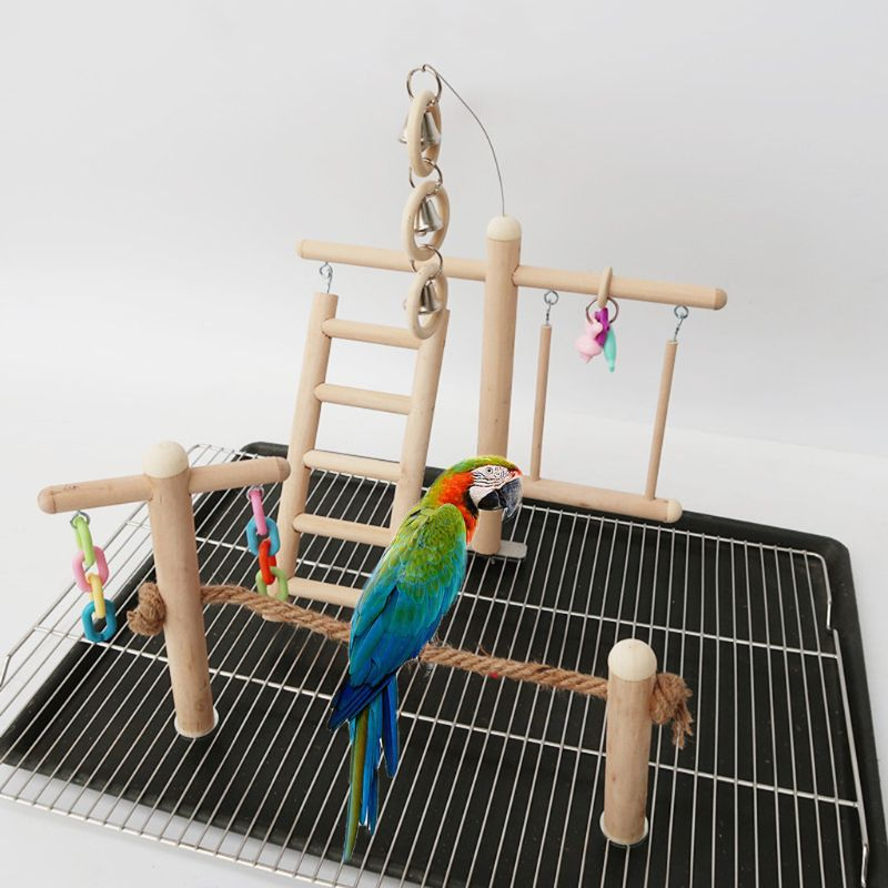 Bird Cage Stand Play Gym Perch Playground Wood Parrot Climbing Ladder Chewing Chain Swing For Lovebirds Budgies Finche
