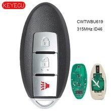 KEYECU inteligentny pilot z kluczykiem samochodowym 3 przycisk 315MHz ID46 dla Infiniti FX35 FX45 2005 2006 2007 2008 FCC: CWTWBU619