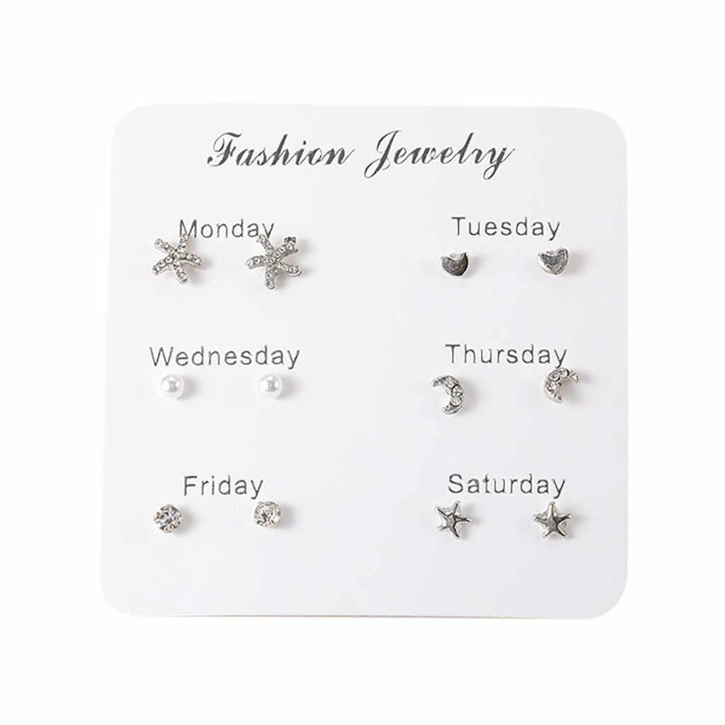 2019 dernière conception marque 7 paires Simple voyage ensemble boucles d'oreilles tempérament tendance mode cadeaux coréen boucles d'oreilles bijoux pour les femmes