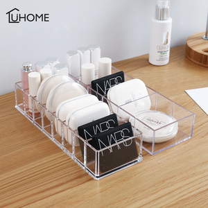 Transparent Acrylic Cosmetics Storage Box Makeup Holder Jewelry Make Up Organizer for Home Plastic Desktop Storage Boxes