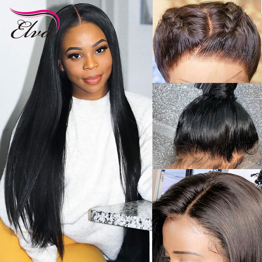 Elva Hair 13x6 Lace Front Human Hair Wigs Pre Plucked With Baby Hair Glueless Straight Wigs For Black Women Brazilian Remy Hair