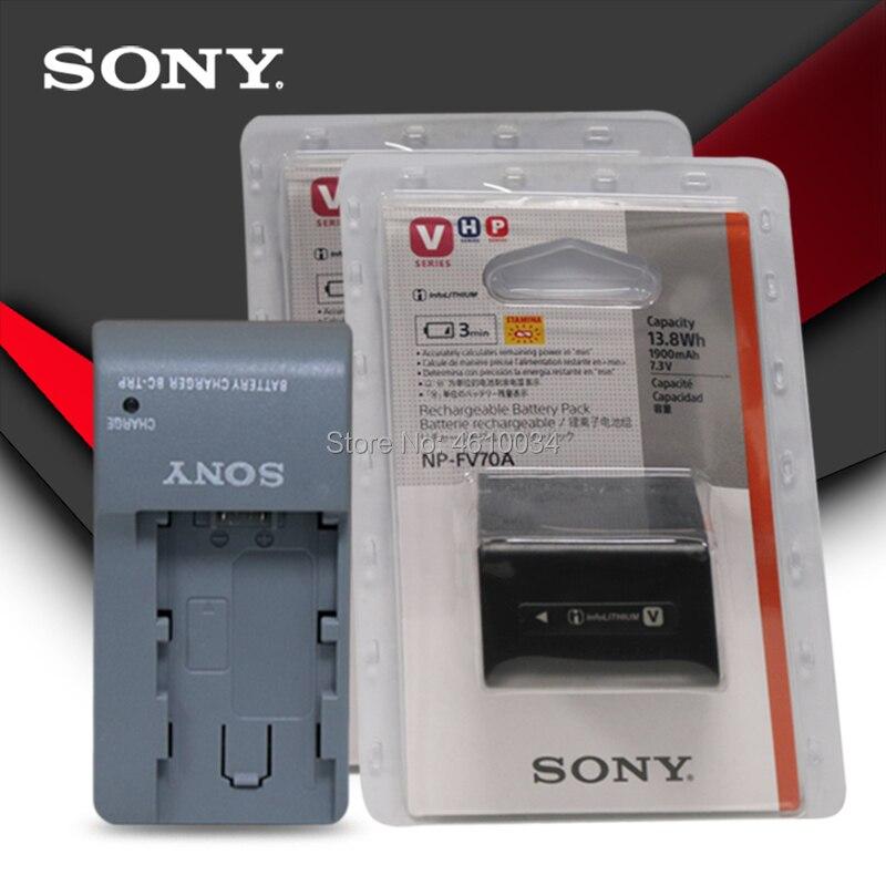 2pc Sony Original caméra batterie NP-FV70A NP FV70A pour Sony AXP55 AX40 AX100 PJ675 AX60 45 + chargeur