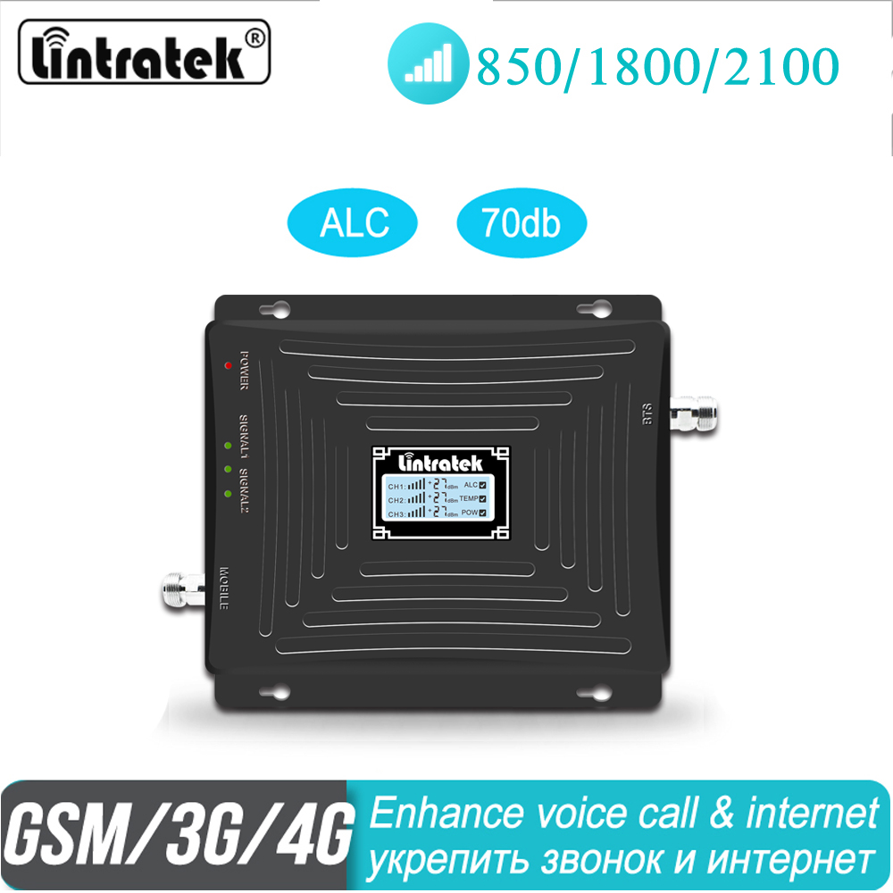 Lintratek 850 1800 2100MHz Cell Phone Cellular Signal Repeater ALC 2G 3G 4G Booster Amplifier GSM Call WCDMA LTE HOT Data#45