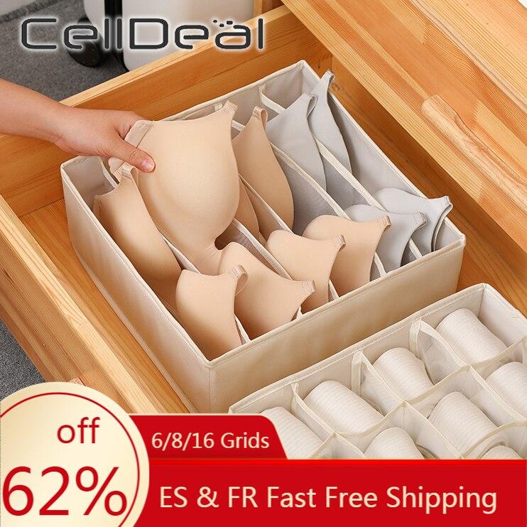 CellDeal 6/8/16 Grids Praktische Faltbare Unterwäsche Lagerung Box Bhs Socken Schublade Organizer Multi-funktion Home Storage Organizer