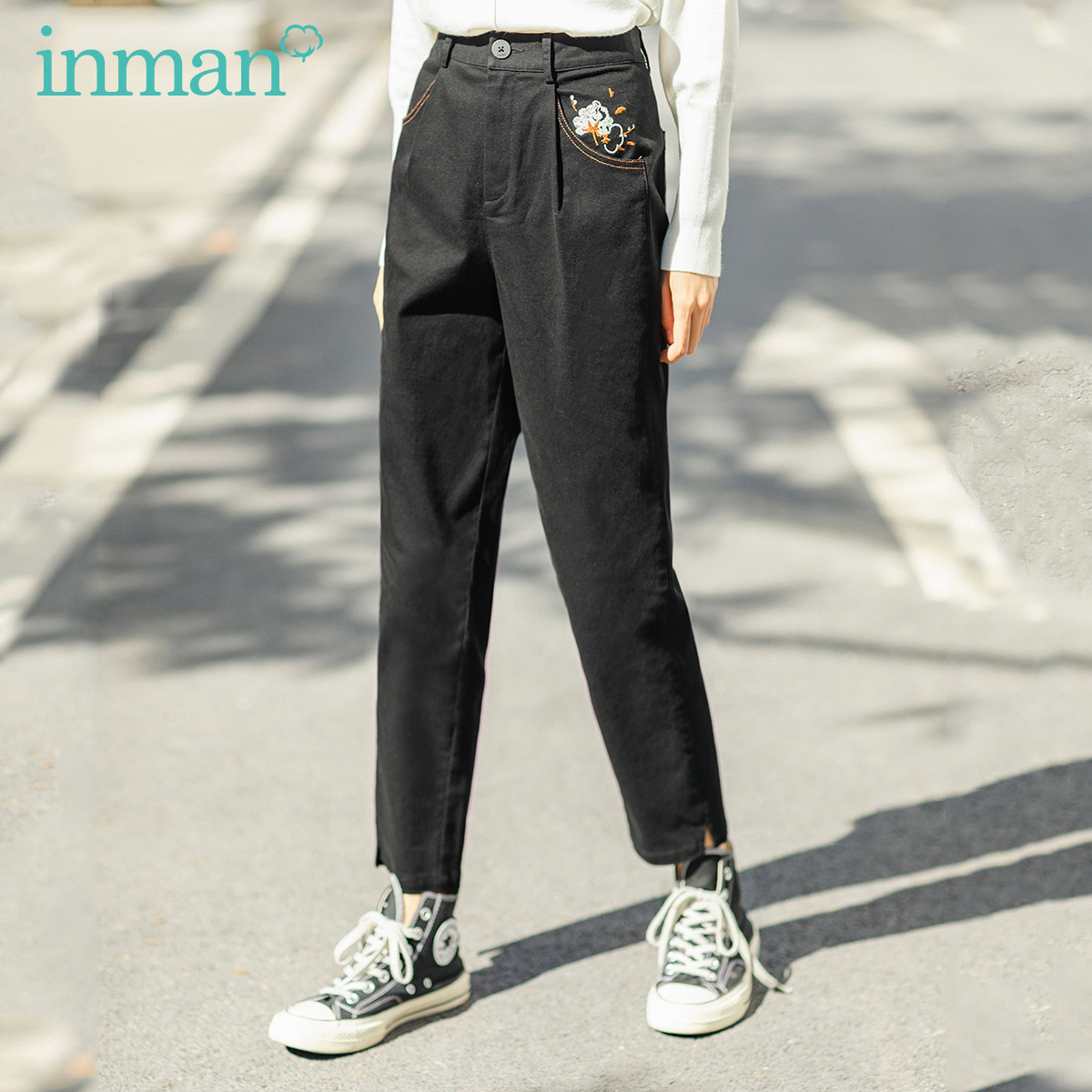 INMAN 2020 Spring New Arrival Literary High Waist Embroidered Slimmed Nine Minutes Pants