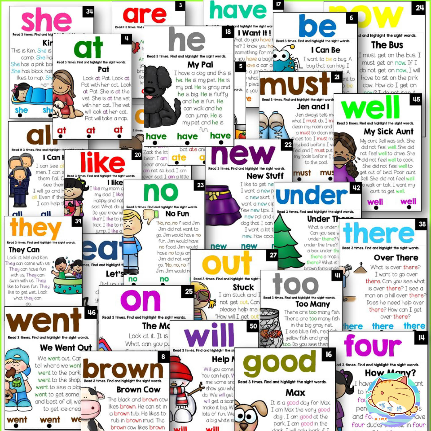 52 Pages Sight Words reading classroom poster Wooksheet Children Learning English language Exercise books for kids