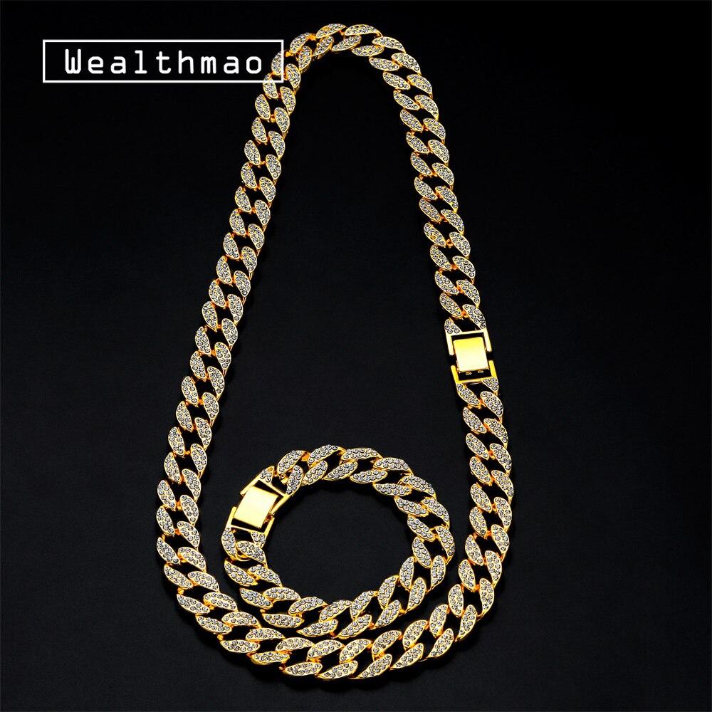 Chapado en Oro Cristal Estrás Cadena De Eslabones Hip Hop Pulsera Brazalete Joyería