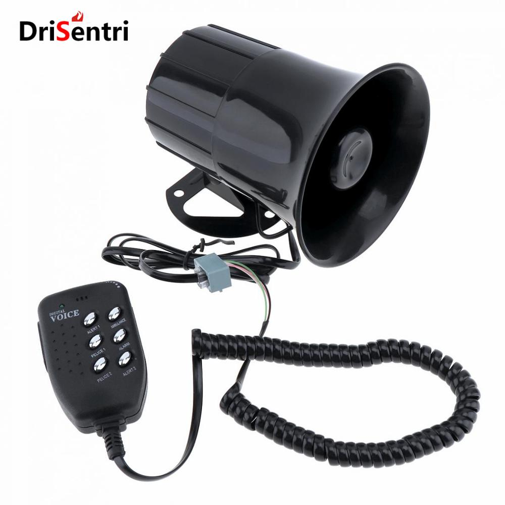 100W 12V 6 Sound Car Truck Speaker Loud Siren Horn 105-115db with MIC New