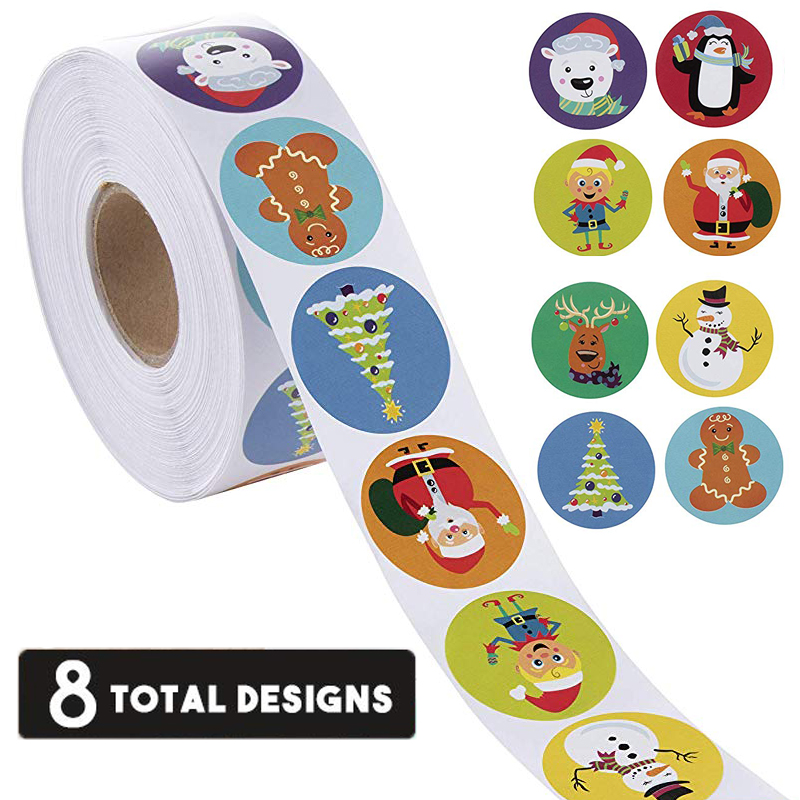 Great for Holiday Greeting Gift Decorations Color 2 Sealing Gifting Amazing Choice for Kid/'s Gift 1 inch 8 Designs Christmas Holidays Stickers Round 500pcs Christmas Stickers Roll