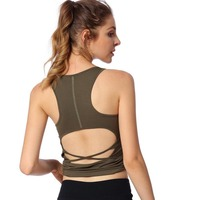 Sexy Backless Summer Sports Vest Women Slim Yoga Shirts Gym Running Tank Top With Chest Pad Sleeveless T Shirt Fitness Clothing