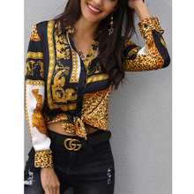 Sexy Women Colorblock Leopard Print Blouse Turn-down Collar Shirt Elegant Ladies Workwear Button Blouses