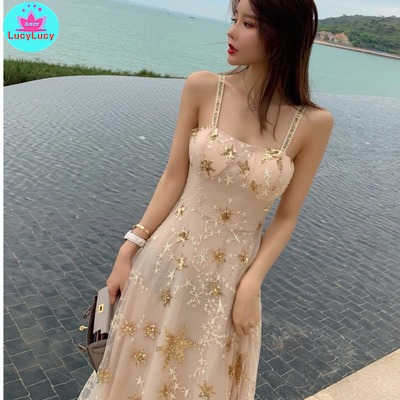 2019 new overweight sequins star embroidery party dress Knee Length Zippers Sleeveless V Neck in Dresses from Women 39 s Clothing