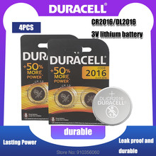 4 pçs 100% original duracell cr2016 dl2016 dl/cr 2016 bateria de lítio para o brinquedo relógio de controle remoto calculadora botão célula moeda