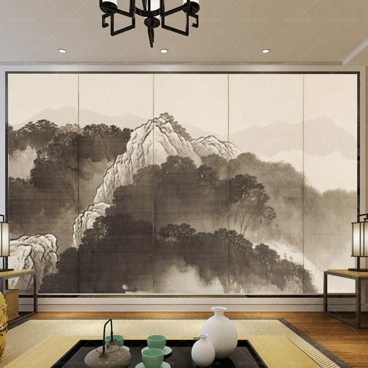 3D TV Backdrop Ukiyo-E Landscape Simple Liu Qu Screen Decorative Painting High-definition Painting Living Room Horizontal Wallpa