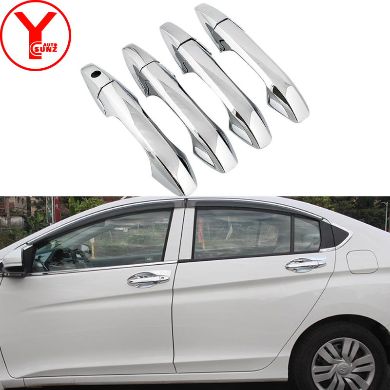 Tuning Door Handle Car Accessories Chrome Exterior Moldings Parts Decoration For Honda City Aria 2009 2010 2011 2012 2013 2014