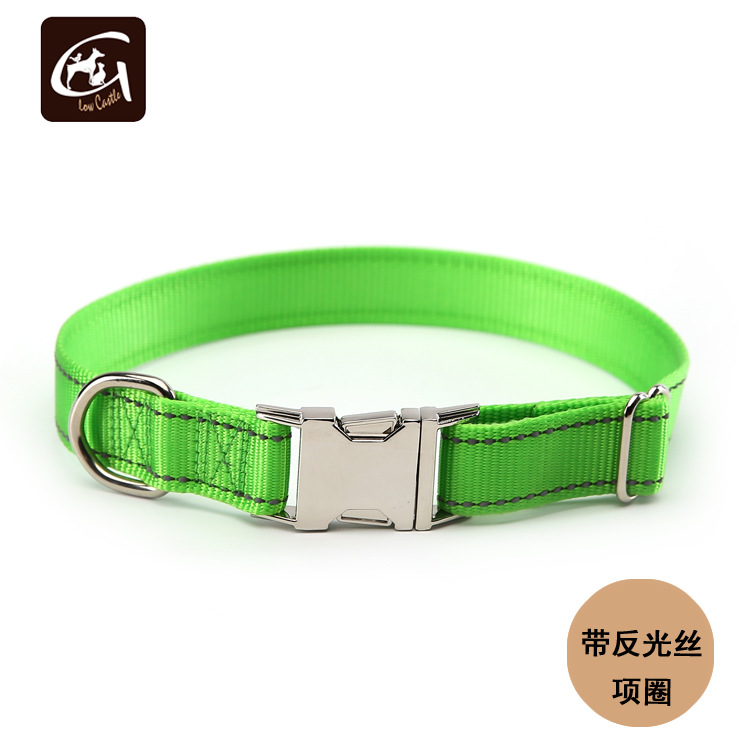 Glow Castle Dog Supplies Customizable Nylon Reflective Yarn Dog Neck Ring Pet Collar Metal Buckle