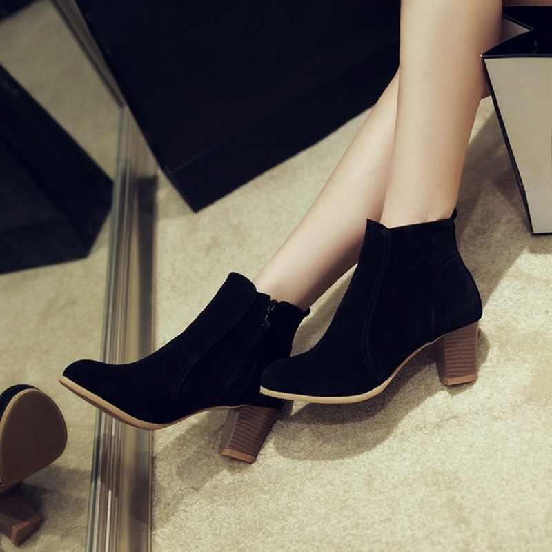 HEFLASHOR kadın yarım çizmeler kış 2019 moda süet deri çizmeler yüksek topuk bayanlar ayakkabı yarım çizmeler kadınlar için Dropshipping
