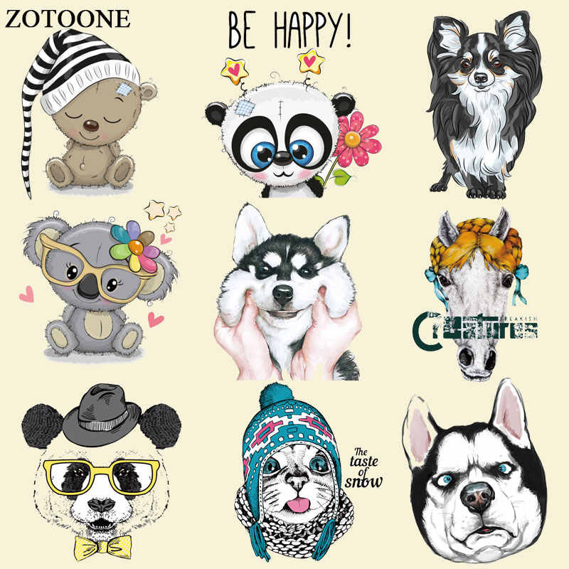 ZOTOONE Iron on Cute Dog Cat Bear Patches Animal Stickers Transfers for Clothes T-shirt Diy Heat Transfer Accessory Appliques E
