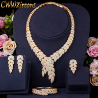 CWWZircons 4pcs Luxury African CZ Leaf Bridal Party Drop Earring Necklace Bracelet Ring Nigerian Dubai Gold Jewelry Sets T392