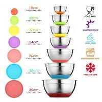 7 colores de mezcla de acero inoxidable recipiente con tapa casa cocina huevo mezclador ensalada tazones de silicona antideslizante Fondo comida juego de recipiente de almacenamiento