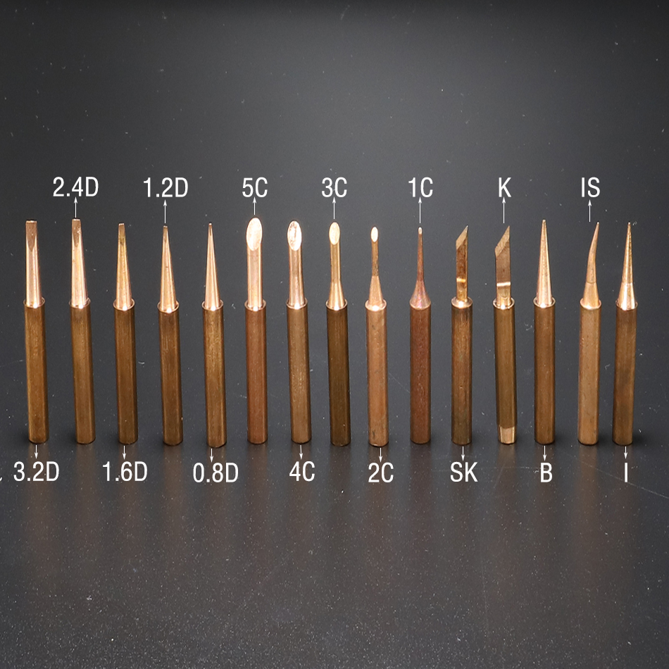 15pcs Lead-free Soldering Tips 900M-T Soldering Iron Pure Copper Lead-free For Soldering Rework Station Soldering Bit