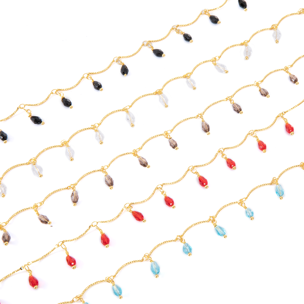 1 Meter 18K Gold Plated Glass Faceted Teardrop Brass Chain Soldered Handmade Chain Findings For DIY Jewelry Necklace Making