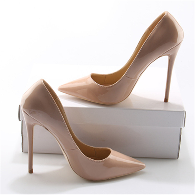 Ladies Shoes Heel Party-Pump Classic Pointed-Toe Nude Fashion Feminino Sapato Thin