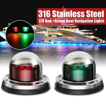 1 para 12V ze stali nierdzewnej czerwona zielona kokarda LED światła nawigacyjne łódź morska wskaźnik światło punktowe łódź morska jacht żeglarstwo światło tanie i dobre opinie