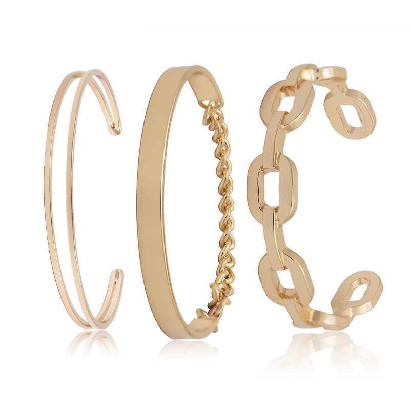 SHIXIN 3 шт. браслет на запястье в стиле панк Набор Золотой/Серебряный массивный металлический Ретро браслет для женщин модный простой Браслет-манжета Femme 2019