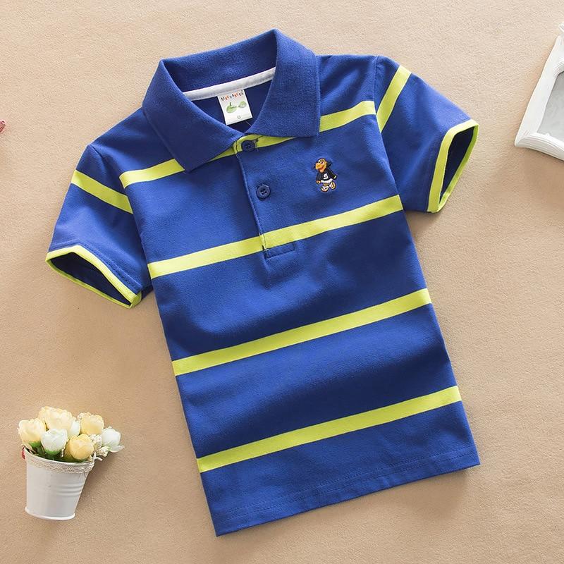 Jargazol T Shirt Kids Clothes Turn-down Collar Baby Boy Summer Top Tshirt Color Stripes Vetement Enfant Fille Camisetas Fnaf 2