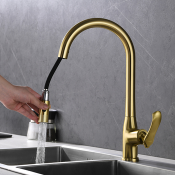 цена на kitchen faucet Pull Out Brushed gold Single Holder Single Hole kitchen faucet Brass Ceramic Plate Spool cold and hot water taps