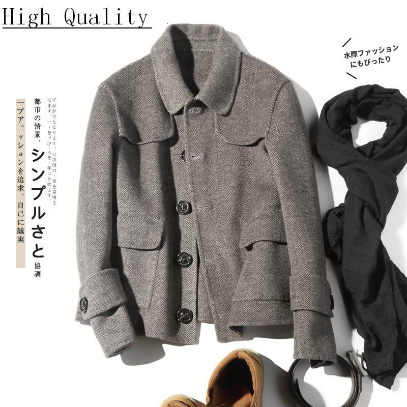 Double-sided Wool Coat Men British Casual Woolen Jacket Spring Short Mens Coats Overcoat Abrigo Hombre LM18-1015 KJ1466