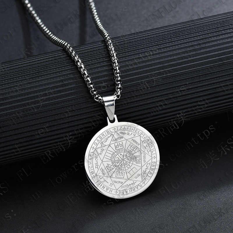 Moda męska naszyjnik Solomon Seal ochrona wisiorek ze stali nierdzewnej siódmy pentagram marsa naszyjnik biżuteria
