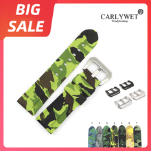 CARLYWET 22 24mm TOP Quality Camo Green Grey Waterproof Silicone Rubber Replacement Watch Band Strap Loops For Panerai Luminor carlywet 22 24mm top quality luxury camo waterproof silicone rubber replacement wrist watch band loops strap for panerai luminor