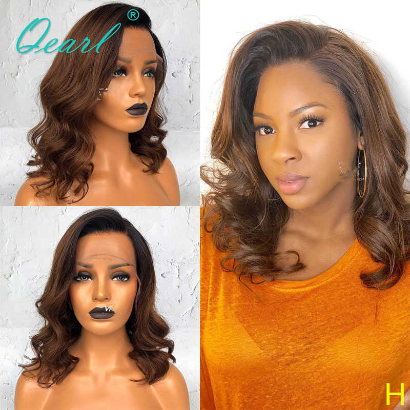 Deep Side Part Ombre Brown Color Human Hair Lace Front Wigs With Baby Hair Short Lace Wig 13x4 13x6 130 150 Remy Wavy Qearl Human Hair Lace Wigs Aliexpress
