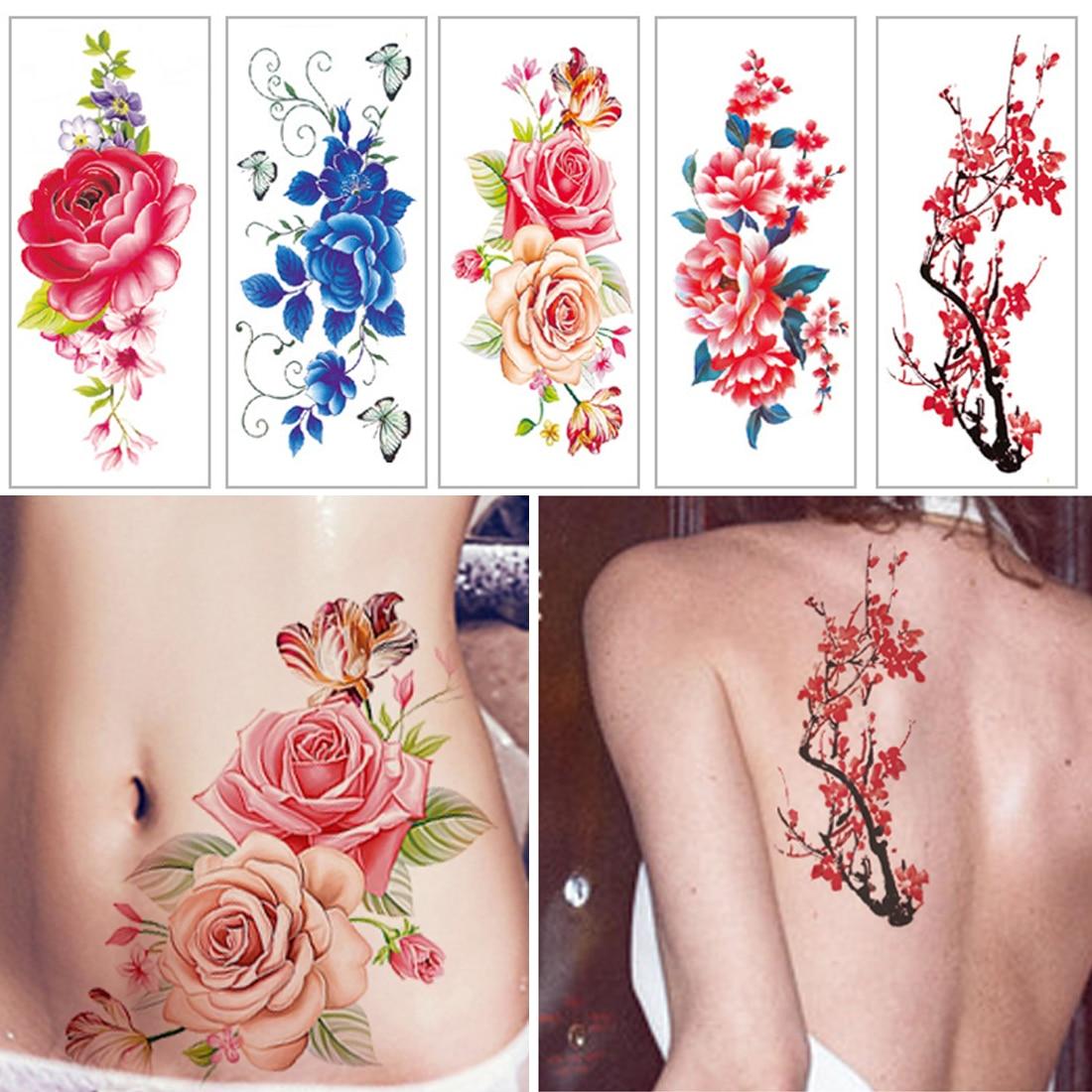 Forest Temporary Tattoo Stickers Watercolor Flower Fake Tattoo Waterproof Rose Women Geometry Universe Tatoo Men