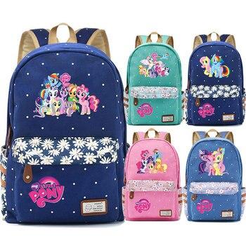 Kawaii 20 Little Pony Rainbow Dash Pinkie Pie flores Dot Boy Girl bolso de escuela mujeres Bagpack adolescentes lona señora Femme mochila