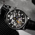 RUIMAS автоматические мужские часы Роскошные водонепроницаемые механические наручные часы из натуральной кожи ремешок Скелет часы Relogio Masculino ...