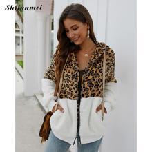 Осенне-зимняя леопардовая Лоскутная куртка пальто с капюшоном женские толстовки Толстовка модная женская куртка на молнии с длинным рукавом пальто