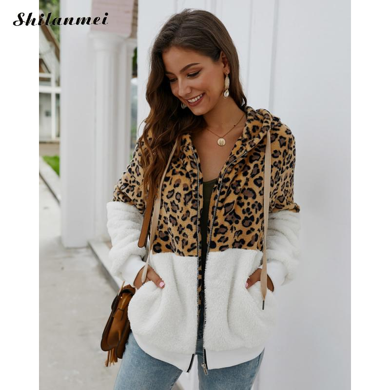 Autumn Winter Leopard Patchwork Jacket Hooded Coat Women's Hoodies Sweatshirt Fashion Zipper Long Sleeve Ladies Jacket Overcoats