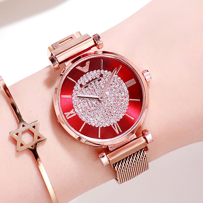 Women Watches 2019 Luxury Diamond Rose Gold Ladies Wrist Watches Magnetic Women Bracelet Watch For Female Clock Relogio Feminino