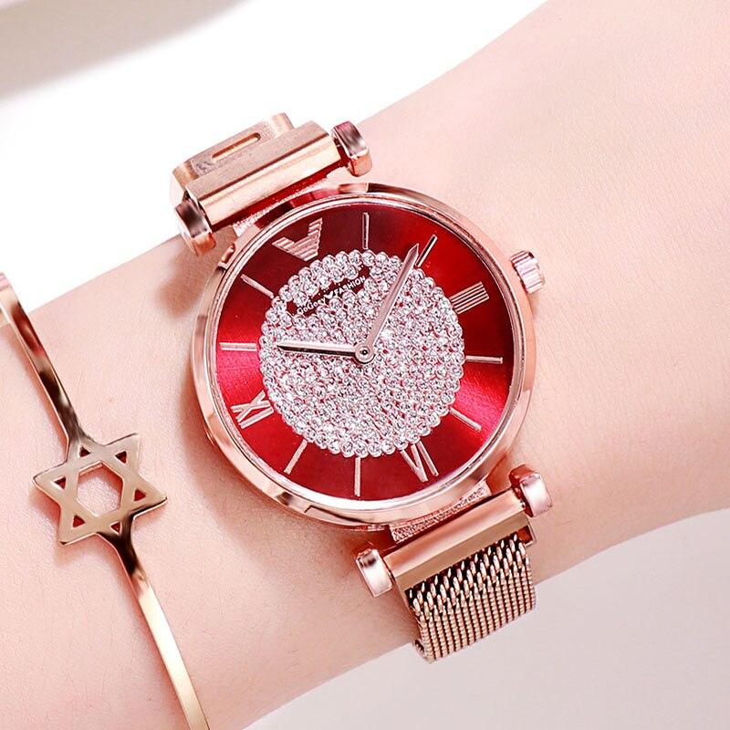 Women's Diamond Watch Ladies Fashion Rhinestone Watches Twinkling Wristwatches For Girls Rose Gold Magnetic Bracelet Lady Clock