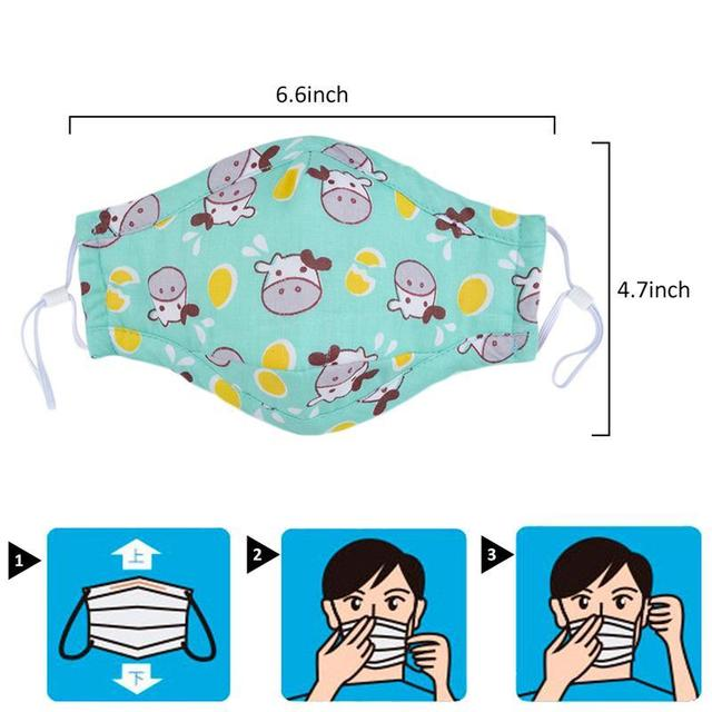 3pcs Mouth Mask Cartoon Printing Breathable Half Face Anti-Dust Mask Cotton Mask For Kids Clothing Accessories 5